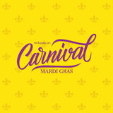 Welcome to Mardi Gras Carnival calligraphic lettering design card template. vector illustration
