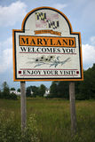 Welcome to Maryland. Road sign on the highway Stock Photos