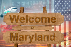 Welcome to Maryland state in USA sign on wood, travell theme Stock Photo