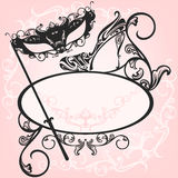 Welcome to the masquerade party vector. Invitation to masquerade party - elegant carnival design with mask and shoe ornate outlines Royalty Free Stock Image