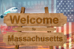 Welcome to Massachusetts state in USA sign on wood, travell theme Royalty Free Stock Images