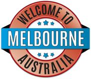 Welcome to melbourne australia badge. Round glossy travel web badge stock illustration