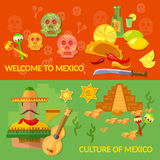 Welcome to Mexico banners Mexican culture and Mexican food Royalty Free Stock Photography