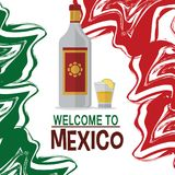 Welcome to mexico tequila drink tradition. Vector illustration eps 10 Royalty Free Stock Image