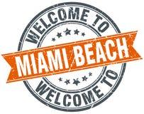 Welcome to Miami Beach orange round stamp Stock Photo