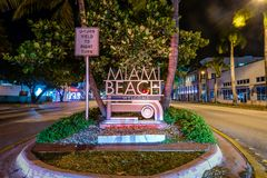 The Welcome to Miami Beach sign royalty free stock image