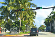 Welcome to Miami. Miami Beach welcome sign which located on 5th St. and Lenox Avenue intersection Stock Photography