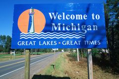 Welcome to Michigan Sign Stock Photography