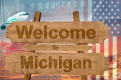 Welcome to Michigan state in USA sign on wood, travell theme Royalty Free Stock Photo