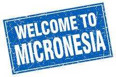 Welcome to Micronesia stamp. Welcome to Micronesia square grunge stamp Stock Photos
