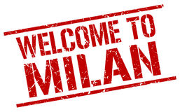 Welcome to Milan stamp. Welcome to Milan square grunge stamp Royalty Free Stock Images