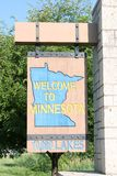 Welcome to Minnesota Sign. At entrance to state Stock Photography