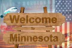 Welcome to Minnesota state in USA sign on wood, travell theme Royalty Free Stock Images