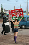 Welcome to Minsk protest 2. Protests are being held demonstrating the Ice Hockey World Championships being held in Minsk, Belarus due to alleged human rights Stock Image