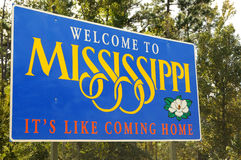 Welcome to Mississippi. Sign welcoming to the state of Mississippi stock image