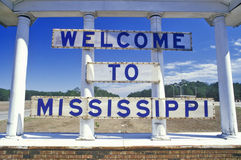 Welcome to Mississippi Sign. On side of the road stock image