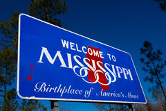 Welcome to Mississippi state Road sign. Welcome to Mississippi road sign with a blue sky background royalty free stock image