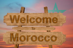 Welcome to Morocco sign on wood background with blending nationa flag Royalty Free Stock Photography