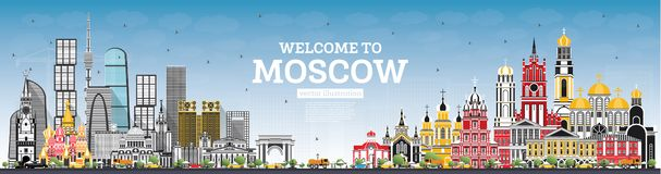Welcome to Moscow Russia Skyline with Gray Buildings and Blue Sk. Y. Vector Illustration. Business Travel and Tourism Concept with Modern Architecture. Moscow royalty free illustration