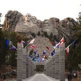 Welcome to Mount Rushmore. National Memorial in the Black Hills of South Dakota feartures George Washington, Thomas Jefferson, Theodore Teddy Roosevelt and Abe stock image