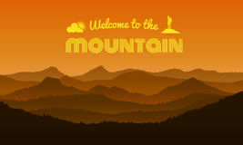 Welcome to the Mountain text on orange mountain layer abstract background vector design stock illustration