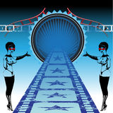 Welcome to movies. Abstract colorful illustration with two attractive women inviting people to movies Stock Photo