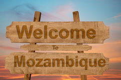 Welcome to Mozambique sign on wood background Royalty Free Stock Photos