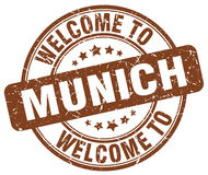 Welcome to Munich brown round  stamp. Welcome to Munich brown round vintage stamp Stock Photo