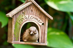 Welcome to my abode. A greeting toy hanged on a tree royalty free stock images