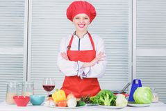 Welcome to my culinary show. Woman pretty chef wear hat and apron. Uniform for professional chef. Lady adorable chef royalty free stock photo