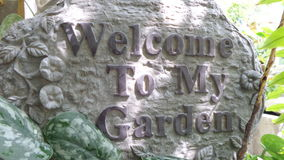 Welcome to my garden sign Stock Photo