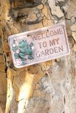 Welcome to my garden sign tree Stock Photography