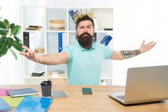 Welcome to my kingdom. King of office. Head of department. Man bearded manager businessman entrepreneur wear crown. Top royalty free stock image
