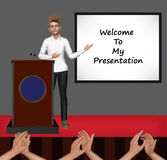 Welcome To My Presentation Illustration. A speaker on stage ready to present his work in front of an audience Stock Photos