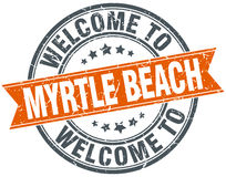 Welcome to Myrtle Beach orange ribbon stamp. Welcome to Myrtle Beach orange round ribbon stamp Royalty Free Stock Photo
