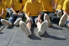 Welcome to Netherlads. 457 children in wooden shoes for world record dance (Guinness book royalty free stock photo