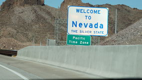 Welcome To Nevada Highway Sign Stock Photography