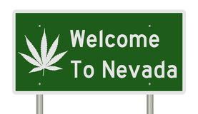 Welcome to Nevada sign with marijuana leaf royalty free illustration