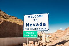 Welcome to Nevada the silver state sign stock photos