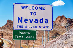 Welcome to Nevada. Sign on the border of Nevada and Arizona near Hoover Dam Royalty Free Stock Photo