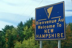Welcome to New Hampshire Sign Stock Images