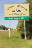 Welcome to New Hampshire state road sign Stock Image