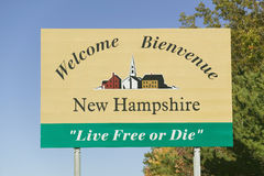 Welcome to New Hampshire state road sign Royalty Free Stock Image