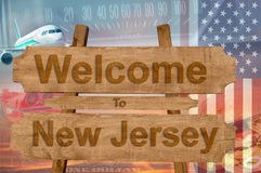 Welcome to New Jersey  state in USA sign on wood, travell theme Royalty Free Stock Photo