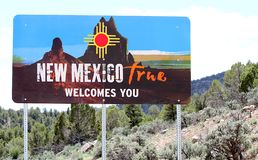 Welcome to New Mexico sign by road. This is the New Mexico true welcomes you sign.  It is displayed where you leave Colorado from the Ute Indian reservation stock photos