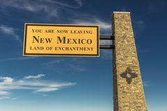 Welcome to New Mexico State Sign. OCT 10, 2018, USA - Welcome to New Mexico State Sign stock images