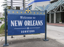 Welcome to New Orleans Downtown sign - NEW ORLEANS, LOUISIANA - APRIL 18, 2016 Stock Photo
