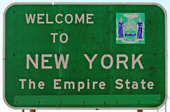 Welcome to New York. A Welcome to New York sign at the state line Royalty Free Stock Photo