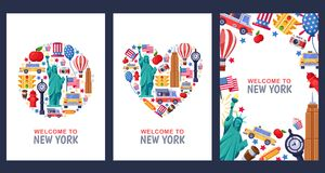 Welcome to New York greeting souvenir cards, print or poster design template. Travel to USA flat illustration. vector illustration