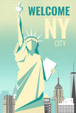 Welcome to New York poster retro design Stock Photography